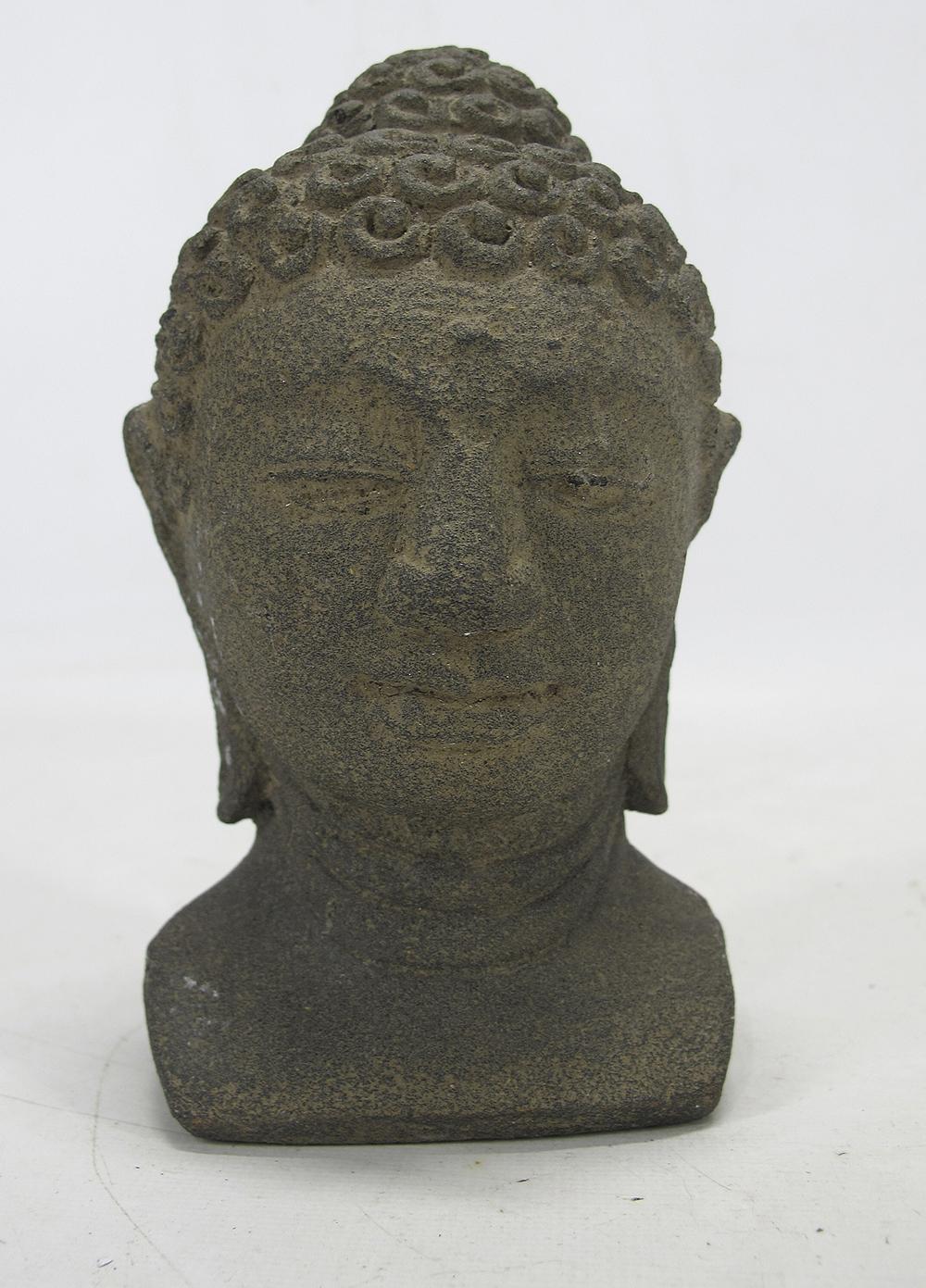 Java yogya buddha stone andesite style carved bust