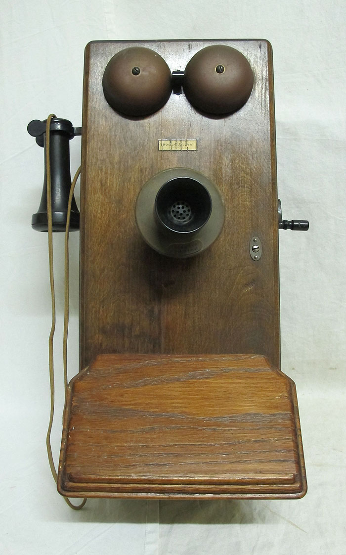 antique western electric rotary dial wood hanging crank. Black Bedroom Furniture Sets. Home Design Ideas
